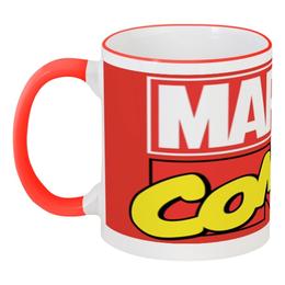 """Кружка с цветной ручкой и ободком """"Marvel"""" - марвел, марвелкомикс, общийсбор"""