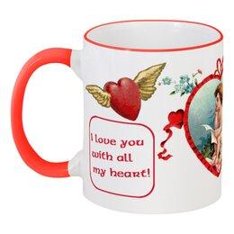 """Кружка с цветной ручкой и ободком """"I love you with all my heart!"""" - любовь, ангел, сердца, 14 февраля, retro-postcard"""