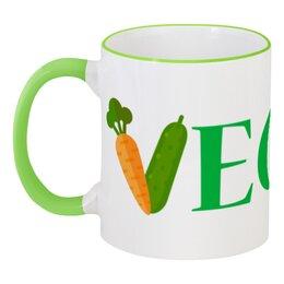"""Кружка с цветной ручкой и ободком """"Vegan"""" - веган, вегетарианство, vegan, овощи"""