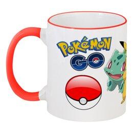 """Кружка с цветной ручкой и ободком """"Pokemon Go"""" - pokemon, покемон, pokemon go"""