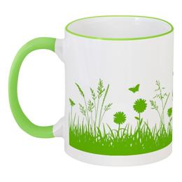 """Кружка с цветной ручкой и ободком """"Летняя трава"""" - бабочки, лето, цветы, трава, стрекозы"""