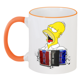 """Кружка с цветной ручкой и ободком """"Homer mmm"""" - прикольные, в подарок, оригинально"""