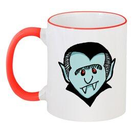 """Кружка с цветной ручкой и ободком """"Дракула"""" - dracula, вампир, дракула"""