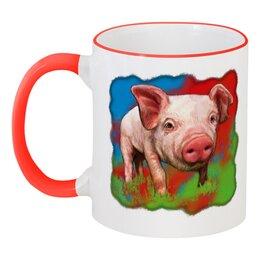 """Кружка с цветной ручкой и ободком """"Симпатичный свин"""" - свинка, свинья, хрюшка, поросёнок, хряк"""