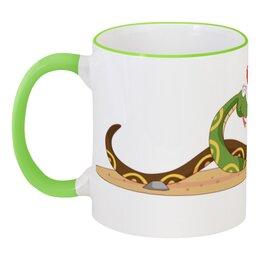"""Кружка с цветной ручкой и ободком """"Влюблённые змеи"""" - любовь, змея, сердца, день святого валентина, пара"""