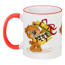 """Кружка с цветной ручкой и ободком """"Мишка Тэдди"""" - конфеты, детский, медвежонок, игрушка, мишка тэдди"""