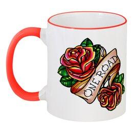 """Кружка с цветной ручкой и ободком """"One road cup"""" - old school, розы, roses, tm kiseleva"""