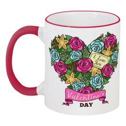 """Кружка с цветной ручкой и ободком """"Сердечко из роз"""" - любовь, сердца, день святого валентина, 14 февраля, день влюблённых"""