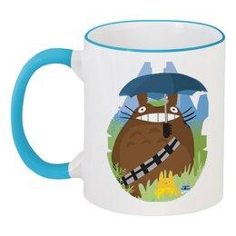 """Кружка с цветной ручкой и ободком """"Мой сосед Тоторо (My Neighbor Totoro)"""" - аниме, тоторо, totoro, мой сосед тоторо, my neighbor totoro"""