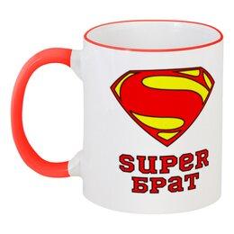 """Кружка с цветной ручкой и ободком """"Супер Брат"""" - комиксы, брат, супермен"""