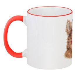 """Кружка с цветной ручкой и ободком """"Собачка Чи"""" - новый год, собака, символ года, новогодняясобака, чихуахуа"""