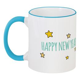 """Кружка с цветной ручкой и ободком """"Недовольный котик. С Новым годом"""" - кот, happy new year, новый год, new year, с новым годом, grumpy cat, тарда, недовольный котик, тардар, сердитая кошка"""