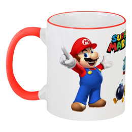 """Кружка с цветной ручкой и ободком """"Super Mario"""" - арт, mario, марио"""