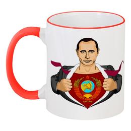 """Кружка с цветной ручкой и ободком """"Путин"""" - супермен, supermen, россия, putin, герб ссср"""