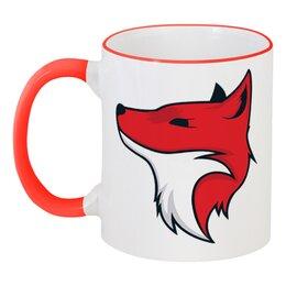 """Кружка с цветной ручкой и ободком """"Fox / Лиса"""" - арт, животные, красный, fox, лиса"""