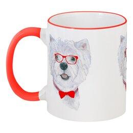 """Кружка с цветной ручкой и ободком """"Моя любимая собака"""" - красный, собака, хипстер, новыйгод"""
