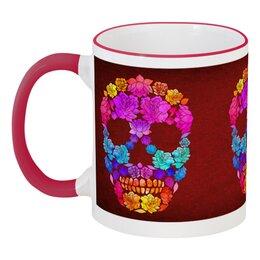 """Кружка с цветной ручкой и ободком """"Skull Art"""" - skull, череп, цветы, черепа, skulls"""