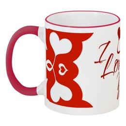 """Кружка с цветной ручкой и ободком """"Сердечки"""" - любовь, день святого валентина, 14 февраля, сердечки, день влюбленных"""