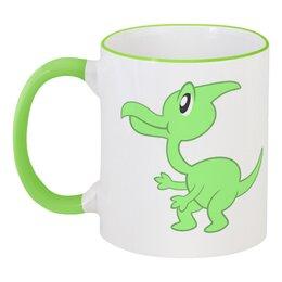 """Кружка с цветной ручкой и ободком """"Динозаврик"""" - динозавр, животное, динозаврик, динозавры"""