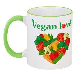 """Кружка с цветной ручкой и ободком """"Vegan love"""" - арт, веган, vegan, овощи, фрукты"""