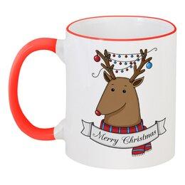"""Кружка с цветной ручкой и ободком """"Новогодний олень"""" - новый год, шарики, олень, merry christmas"""