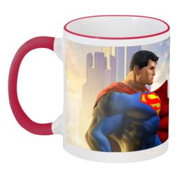 """Кружка с цветной ручкой и ободком """"Супермен"""" - comics, супермен, superman, dc, superhero"""
