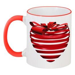 """Кружка с цветной ручкой и ободком """"3d сердце"""" - день святого валентина, 14 февраля, ко дню влюбленных, valentine's day, день влюбленных"""