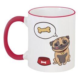 """Кружка с цветной ручкой и ободком """"Забавный мопс"""" - новый год, собака, мопс, 2018, год собаки"""