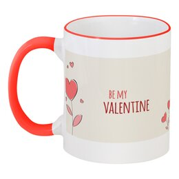 """Кружка с цветной ручкой и ободком """"Валентинка"""" - любовь, коты, валентинка, день св валентина"""