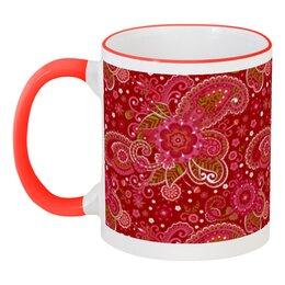 """Кружка с цветной ручкой и ободком """"Праздник"""" - цветы, роспись, декор"""