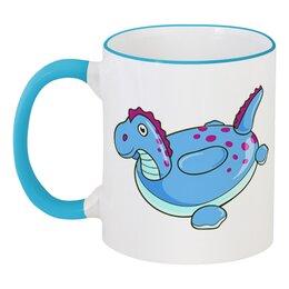 """Кружка с цветной ручкой и ободком """"Динозаврик"""" - лето, динозавр, надувная игрушка"""