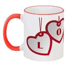 """Кружка с цветной ручкой и ободком """"Сердца"""" - любовь, сердца, 14 февраля"""