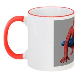 """Кружка с цветной ручкой и ободком """"Человек Паук"""" - комиксы, мульт, человек паук"""