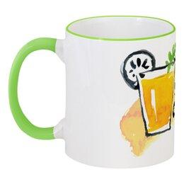 """Кружка с цветной ручкой и ободком """"Натуральный сок"""" - фрукты, апельсин, напитки, лимон, соки"""
