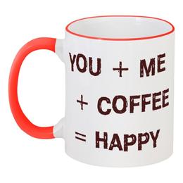 """Кружка с цветной ручкой и ободком """"coffee 4"""" - кофе, coffee, tm kiseleva"""