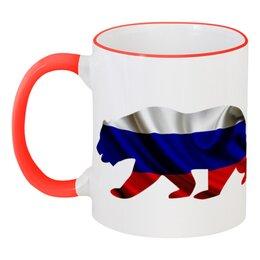 """Кружка с цветной ручкой и ободком """"Русский Медведь"""" - bear, медведь, русский, флаг, russian"""
