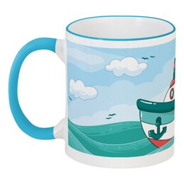 """Кружка с цветной ручкой и ободком """"Морская"""" - морской, волны, корабль, море, детский"""