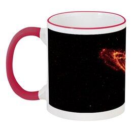 """Кружка с цветной ручкой и ободком """"Вселенная"""" - наука, космос, вселенная, звезды, галактика"""