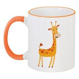 """Кружка с цветной ручкой и ободком """"Жираф"""" - животные, жираф"""