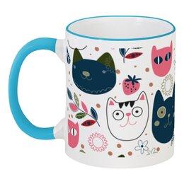 """Кружка с цветной ручкой и ободком """"прикольные коты"""" - прикольные коты, кот, животные"""