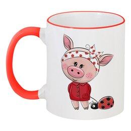 """Кружка с цветной ручкой и ободком """"Поросёнок"""" - новый год, божья коровка, 2019, год свиньи"""