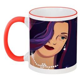 """Кружка с цветной ручкой и ободком """"Девушка на пурпурном фоне"""" - арт, девушка, мода, иллюстрация, фон"""