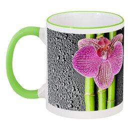 """Кружка с цветной ручкой и ободком """"с именем Юлия"""" - цветы, 8 марта, стильный, орхидея, юлия"""