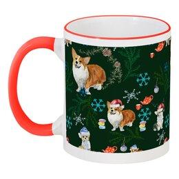 """Кружка с цветной ручкой и ободком """"Моя любимая собака"""" - красный, собака, снежинка, новыйгод, корги"""