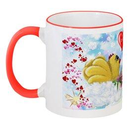 """Кружка с цветной ручкой и ободком """"Милая моя"""" - день святого валентина, мульт, день всех влюблённых, прикольные цыплята, детская чашка"""