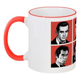 """Кружка с цветной ручкой и ободком """"007: Джеймс Бонд"""" - 007, кино, актёры, боевик, джеймс бонд"""