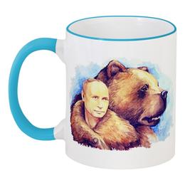 """Кружка с цветной ручкой и ободком """"Путин и Российский медведь"""" - любовь, happy new year, царь, новый год, bear, медведь, москва, владимир, россия, 2014"""