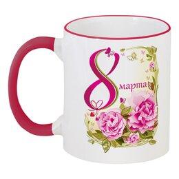 """Кружка с цветной ручкой и ободком """"8 Марта"""" - красиво, 8 марта, ярко, международный женский день"""