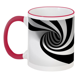 """Кружка с цветной ручкой и ободком """"3d эффект"""" - сувенир, 3d арт абстракция, черно белые полосы, эффект искажения"""