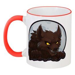 """Кружка с цветной ручкой и ободком """"Ррррррр!"""" - хеллоуин, волк, оборотень, werewolf"""